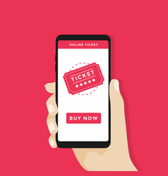 Buy tickets online with a smartphone vector