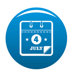 calendar fourth july icon blue vector image