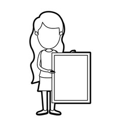 Caricature thick contour faceless full body woman vector