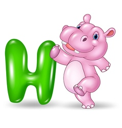 Cartoon of h letter for hippo vector