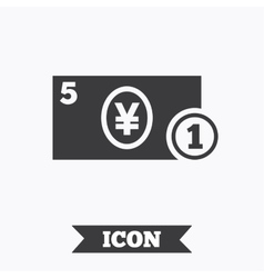 Cash sign icon Yen Money symbol Coin vector image