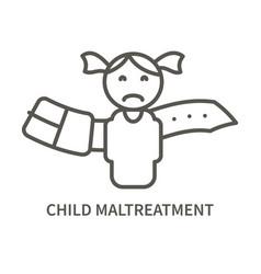 child maltreatment linear icon vector image