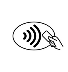 contactless payment icon credit card and hand vector image