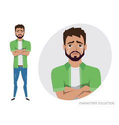 Crying man negative emotion facial expression vector
