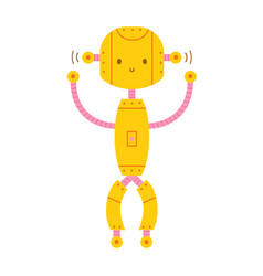 cute adorable smiling robot isolated on white vector image