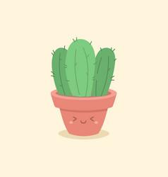 cute cactus succulent cartoon vector image