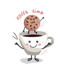 cute cartoon cup of coffee2 vector image