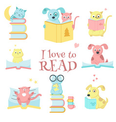 Cute pet animals reading books icon set vector