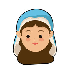 Cute virgin mary character manger christmas vector
