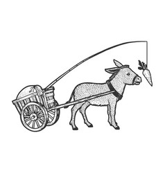 Donkey chasing carrot sketch vector