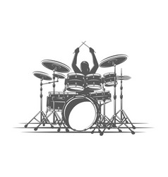 drummer plays percussion instruments vector image