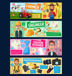 Engineer farmer fashion designer photographer vector