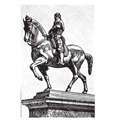 Equestrian statue of colleone is a man mound upon vector