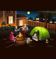 Family camping in the backyard vector