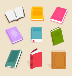 Flat books and reading documents open vector
