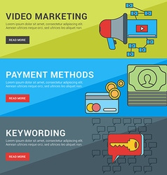 Flat Design Concept Set of for Web Banners Video vector