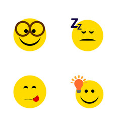 flat icon gesture set of pleasant asleep have an vector image