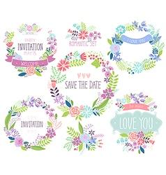 Floral hand drawn card set vector image