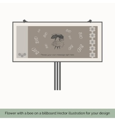 Flower with bee on a billboard 3 vector