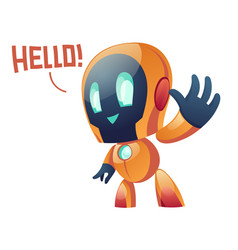 friendly robot say hello and waving hand to user vector image