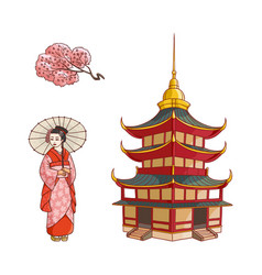 geisha with fan sakura branch pagoda set vector image