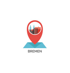 Germany bremen map pin point icon vector