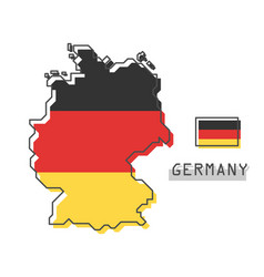 Germany map and flag modern simple line cartoon vector