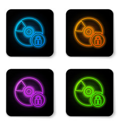 Glowing neon cd or dvd disk with closed padlock vector
