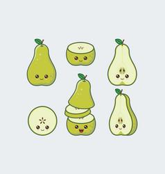 green pear set cute kawaii food faces vector image
