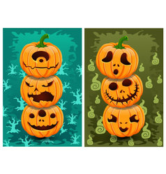 Halloween pumpkins and background set 5 vector