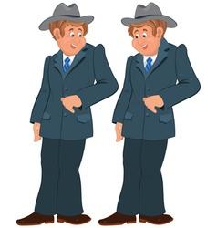 Happy cartoon man standing in gray suite and hat vector image