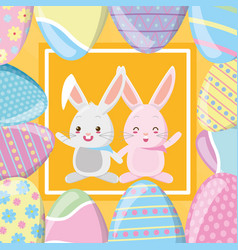 happy easter rabbit couple vector image