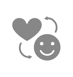 happy face and heart gray icon exchange happiness vector image