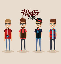 Hipster style group of avatars vector