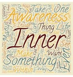 Inner Awareness text background wordcloud concept vector image vector image
