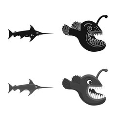 Isolated object of sea and animal icon collection vector