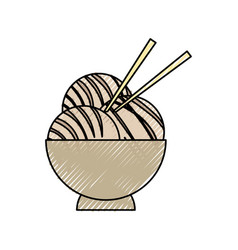 japanese food with chopsticks vector image