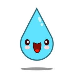 kawaii nice shy drop water vector image