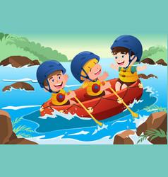Kids on boat vector