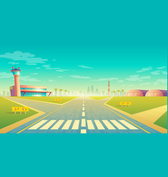 landing strip for airplanes terminal near vector image