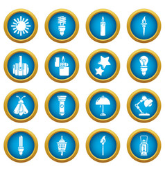 Light source icons set simple style vector
