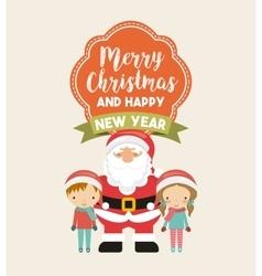 Little kids in christmas celebration vector