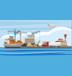 logistic horizontal banner cartoon style vector image