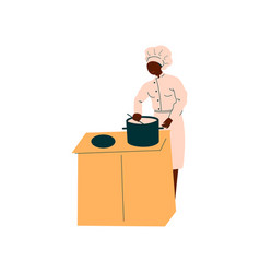 male african american chef cooking in restaurant vector image