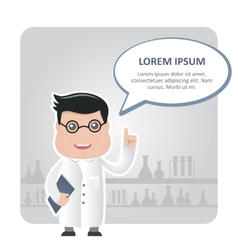 man chemist and a text bubble vector image