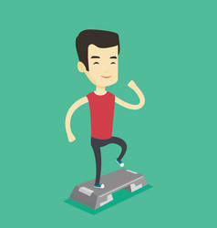 Man exercising on stepper vector