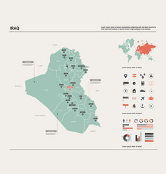 Map iraq high detailed country vector