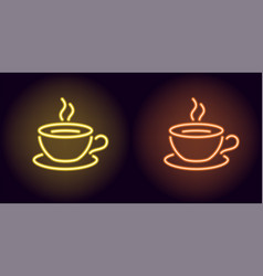 neon cup and saucer in yellow and orange color vector image
