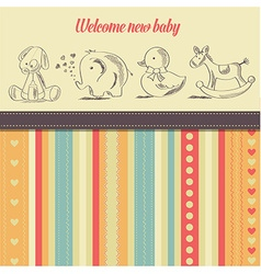 New baannouncement card with retro toys vector