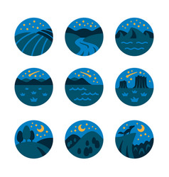 night landscape icon set vector image